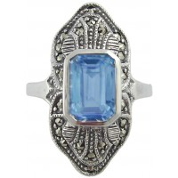 RG283   Ring with Marcasite and Genuine Synthetic Aquamarine Sterling Silver Ari D Norman
