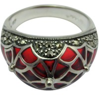 RG500   Ring with Red Enamel and Marcasite Sterling Silver Ari D Norman