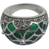 RG501   Ring with Green Enamel and Marcasite Sterling Silver Ari D Norman