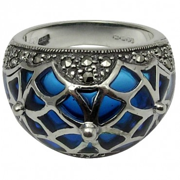 RG502   Ring with Blue Enamel and Marcasite Sterling Silver Ari D Norman