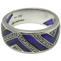 RG505   Ring with Blue Enamel and Marcasite Sterling Silver Ari D Norman