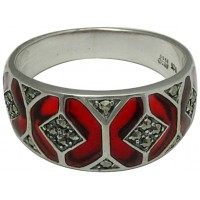 RG506   Ring with Red Enamel and Marcasite Sterling Silver Ari D Norman