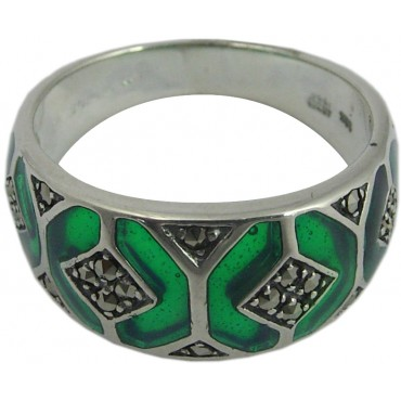 RG507   Ring with Green Enamel and Marcasite Sterling Silver Ari D Norman