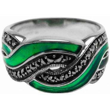 RG510   Ring With Green Enamel and Marcasite Sterling Silver Ari D Norman
