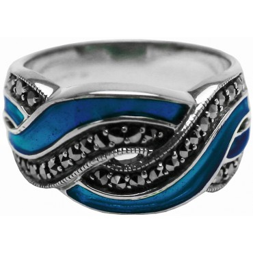 RG511   Ring With Blue Enamel and Marcasite Sterling Silver Ari D Norman