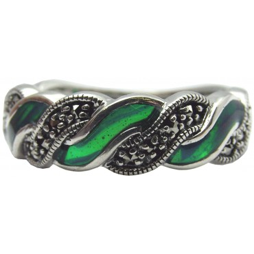 RG513   Ring With Green Enamel and Marcasite Sterling Silver Ari D Norman