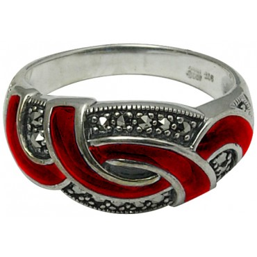 RG515   Ring With Red Enamel and Marcasite Sterling Silver Ari D Norman