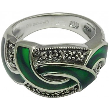 RG516   Ring with Green Enamel and Marcasite Sterling Silver Ari D Norman