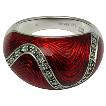 RG518   Ring with Red Enamel and Marcasite Sterling Silver Ari D Norman