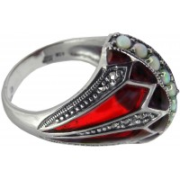RG521   Elizabethan Style Ring with Red Enamel, Opal and Marcasite Sterling Silver Ari D Norman