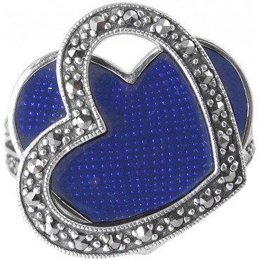 RG524   Ring with Blue Enamel and Marcasite Sterling Silver Ari D Norman