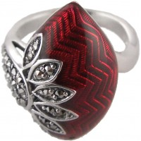 RG527   Ring with Red Enamel and Marcasite Sterling Silver Ari D Norman