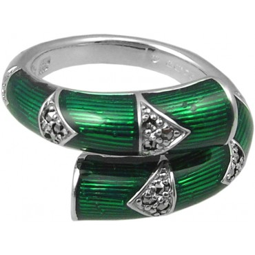 RG530   Ring with Green Enamel and Marcasite Sterling Silver Ari D Norman
