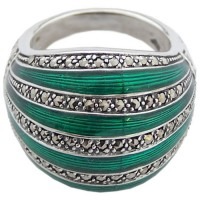 RG531   Ring with Green Enamel and Marcasite Sterling Silver Ari D Norman