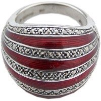 RG532 - Sterling Silver Ring with Red Enamel and Marcasite