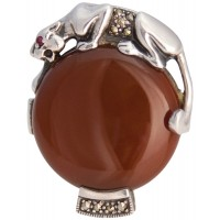 RG536   Red Agate Panther Ring Sterling Silver Ari D Norman