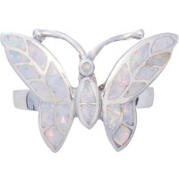 RG544   Butterfly Ring With Crushed White Opal Resin Sterling Silver Ari D Norman