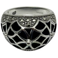 RG560   Ring With Black Enamel and Marcasite Sterling Silver Ari D Norman