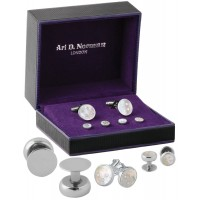 BOX192   Mother of Pearl Cufflinks and Studs Dress Shirt Set Sterling Silver Ari D Norman