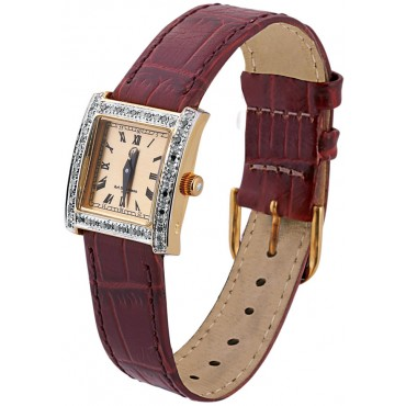WTCH1   Gold Plated Sterling Silver (Vermeil) Unisex Diamond Set Watch with Leather Strap Ari D Norman