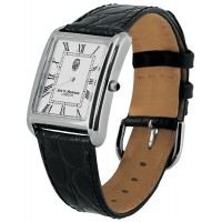 WTCH10   Sterling Silver Men's Classic Watch with Black Leather Strap Ari D Norman