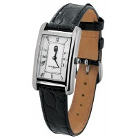 WTCH11 - Sterling Silver Unisex Classic Watch with Black Leather Strap