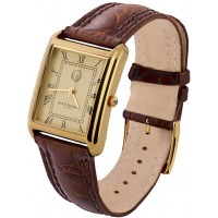 WTCH16   Gold Plated Sterling Silver (Vermeil) Unisex Watch with Brown Leather Strap Ari D Norman