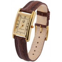 WTCH17   Gold Plated Sterling Silver (Vermeil) Ladies Watch with Brown Leather Strap Ari D Norman
