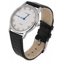 WTCH3   Diamond Effect Watch with Leather Strap Sterling Silver Ari D Norman