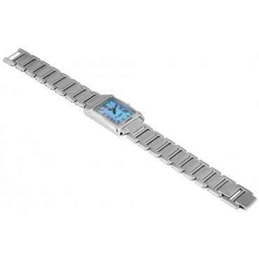 WTCH5   Sterling Silver Unisex Watch Mounted on Sterling Silver Adjustable Bracelet Ari D Norman