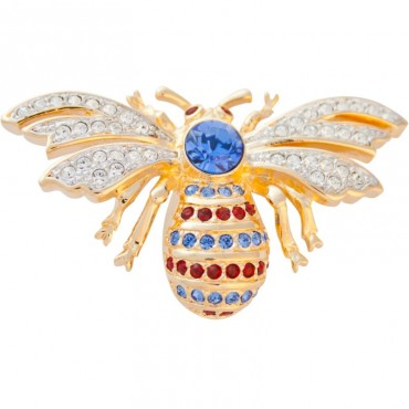 ADC3   Gold Plated Bee Brooch with Austrian Crystals Jewelari of London
