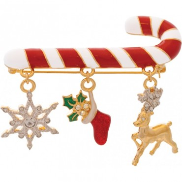 JB248   Gold Plated Christmas Charm Brooch Jewelari of London