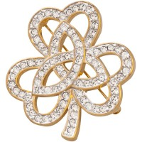 JB216   Gold Plated Crystal Shamrock Brooch Jewelari of London