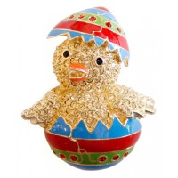 JB161   Gold Plated Easter Chick Brooch Jewelari of London