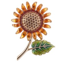 JB103   Gold Plated Jewelled Sunflower Brooch Jewelari of London