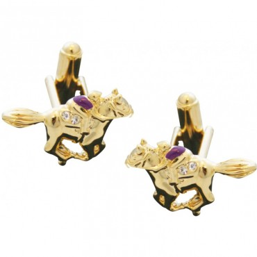 JCU30   Gold Plated Jockey on Horse Cufflinks Jewelari of London