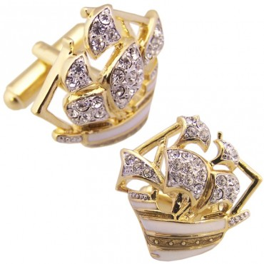 JCU2   Gold Plated 'Mayflower' Cufflinks with Austrian Crystals Jewelari of London