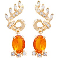 ANC8   Gold Plated Metal Alloy and Austrian Crystal Art Nouveau Style Earrings Jewelari of London