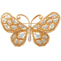 JB111   Gold Plated Metal Alloy and Austrian Crystal Butterfly Brooch Jewelari of London
