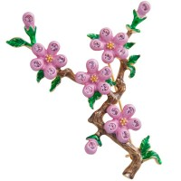 JB164   Gold Plated Metal Alloy and Austrian Crystal Cherry Blossom Brooch Jewelari of London