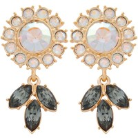 ANC10   Gold Plated Metal Alloy and Austrian Crystal Floral Earrings Jewelari of London