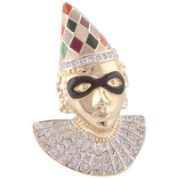JB219   Gold Plated Metal Alloy and Austrian Crystal Harlequin Face Brooch jewelari of London