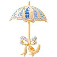 JB49   Gold Plated Metal Alloy and Austrian Crystal Umbrella Brooch Jewelari of London