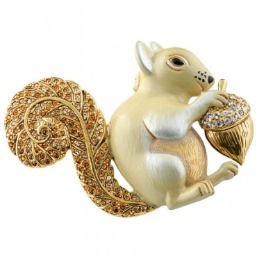 JB121   Gold Plated Squirrel Brooch Jewelari of London