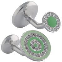 JCU8   Rhodium Plated and Crystal Circle Cufflinks Jewelari of London