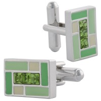 JCU11   Rhodium Plated and Crystal Rectangular Cufflinks Jewelari of London