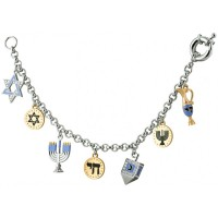 JBT2   Rhodium Plated Chanukah Charm Bracelet with Swarovski Crystals Jewelari of London