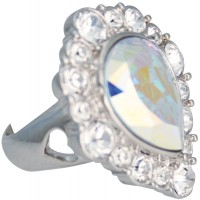 ENC7   Rhodium Plated Edwardian Style Ring With Austrian Crystals Jewelari of London