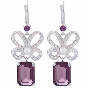 EC4   Rhodium Plated Elizabethan Style Crystal Earrings Jewelari of London