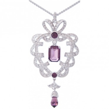 EC3   Rhodium Plated Elizabethan Style Crystal Necklace Jewelari of London